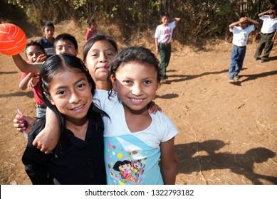 GUATEMALA, JUTIAPA - MAY 14, 2003. Children receiving primary education in rural school with scarce economic resources. School children on Guatemala, Jutiapa. EDITORIAL.