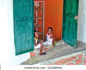Guatemala, Livingston-14 September, 2017: Children playing on the streets of Livingston