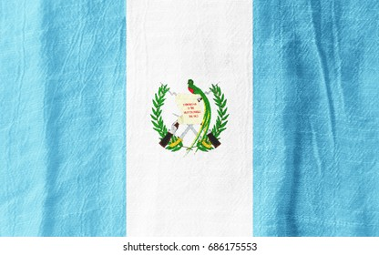 Guatemala national flag from fabric for graphic design.