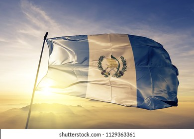 Guatemala national flag textile cloth fabric waving on the top