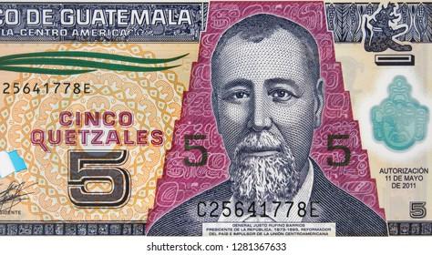 Guatemala new 5 quetzal (2011) banknote, Justo Rufino Barrios. Guatemalan money currency close up. Guatemala economy.