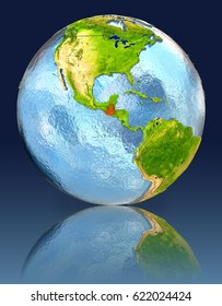 Guatemala on globe with reflection. Illustration with detailed planet surface. Elements of this image furnished by NASA.