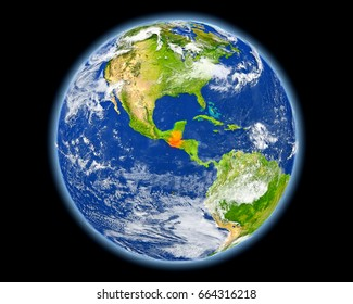 Guatemala on planet Earth. 3D illustration with detailed planet surface. Elements of this image furnished by NASA.