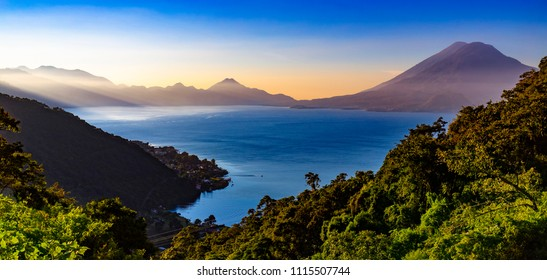 Guatemala. Panoramic view of Lake Atitlan (Lago de Atitlan). There are two volcanoes in the right: Atitlan after Toliman