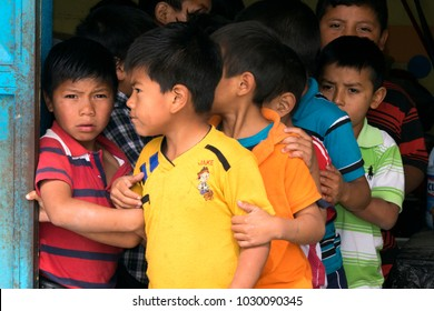 GUATEMALA, QUETZALTENANGO - January 30, 2016. Group of young children lining up in public school in Guatemala, Central America, Latin America. EDITORIAL.