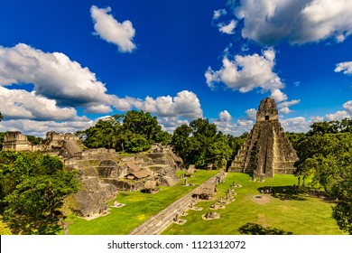 Guatemala. Tikal National Park (Peten Department, on UNESCO World Heritage Site since 1979). The Grand Plaza with the North Acropolis and Temple I (Great Jaguar Temple)