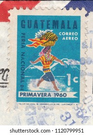 GUATEMALA-CIRCA 1964:A stamp printed in Guatemala ,shows Woman carrying a fruit basket on her head,circa 1964