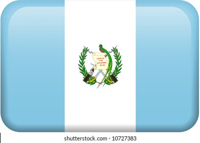 Guatemalan flag rectangular button.  Part of set of country flags all in 2:3 proportion with accurate design and colors.