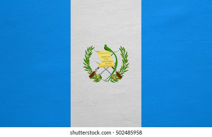 Guatemalan national official flag. Patriotic symbol, banner, element, background. Correct colors. Flag of Guatemala with real detailed fabric texture, accurate size, illustration