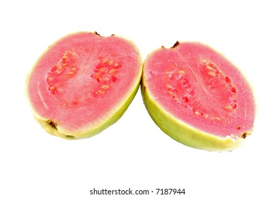 Guava divided in the half part on white .