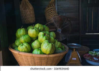 guava on basket fresh fruits selling at Thai market, selective focus
