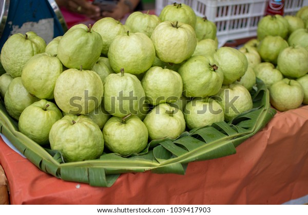 guava sell in the market. soft focus.