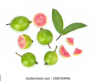 Guava (tropical fruit) on white background.Top view
