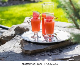 Guava and Watermelon juice on a metal tray resting on large bolder outside on a sunny day.