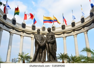 GUAYAQUIL, ECUADOR - AUGUST 7TH, 2016 - Monument for the south american heroes Simon Bolivar and San Martin de los Andes, in Guayaquil, Ecuador, on August 7th, 2016