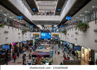 GUAYAQUIL, GUAYAS ECUADOR, Circa January 2019 The Terminal Terrestre Guayaquil, Guayaquil Ecuador Bus Terminal handles 42 million passengers a year at 112 bus bays and three floors of shopping mall