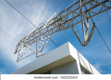 Guaynabo, Puerto Rico / United States - Dec 3 2017: Power lines remain broken and down along roads and residential areas nearly three months after Hurricane Maria.