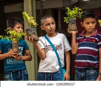 Guazacapan Guatemala 03/20/2019 young latin boys holding plants in Guatemala