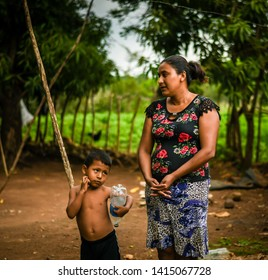 Guazacapan Guatemala 05-25-2019 latin mother and child in rural Guatemalan village