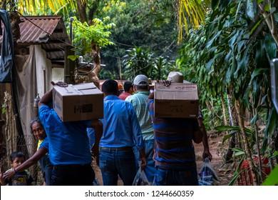 Guazacapan Guatemala 11/25/2018 christian missionaries bringing food and supplies to village in Guatemalan jungle
