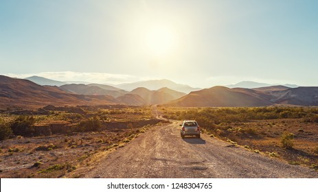 Guba / Azerbaijan - October 19, 2018.  SUV Hyundai Tucson on a dirt mountain road