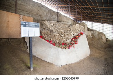 Guba Genocide Memorial. Human remains from Quba's mass grave. It is a museum in the city of Kuba in Azerbaijan. Quba, Azerbaijan. December 7, 2017