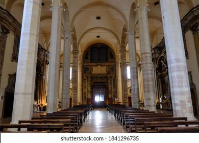 Gubbio - August 2019: interior of San Francesco church