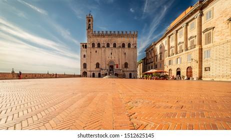 """Gubbio city center with """"Palazzo dei Consoli"""" and """"Piazza della Signoria"""""""