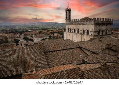 """Gubbio city center with """"Palazzo dei Consoli"""" and """"Piazza della Signoria"""", medieval city in Umbria"""