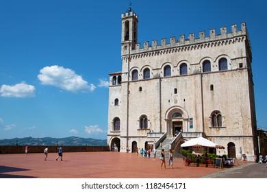 Gubbio, Italy - August 24, 2018: Medieval Palazzo dei Consoli in Gubbio, Italy