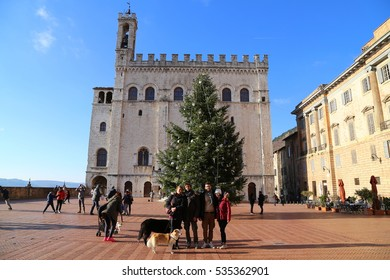 Gubbio, Italy - December, 10, 2016: Palazzo dei Consoli, the Piazza Grande at Christmas time.