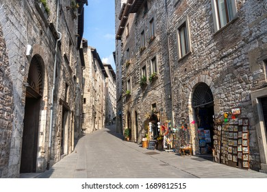 Gubbio, Italy - July 18, 2019: Gubbio, Perugia, Umbria, Italy: historic buildings of the medieval city