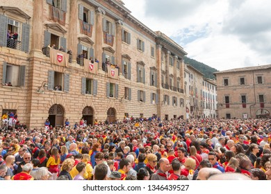 GUBBIO, ITALY - MAY 15 2016 - The crowds gather in the Piazza Grande, Gubbio, to watch and celebrate the annual Festa dei Ceri.