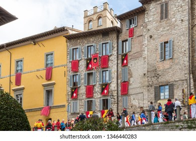 GUBBIO, ITALY - MAY 15 2016 - All of the houses in Gubbio are decorated with their suppoting Saint flags to celebrate the annual Festa dei Ceri.