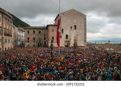 GUBBIO, ITALY - MAY 15, 2018: The famous festa dei ceri with many people in the historic center of Gubbio medieval village, Umbria