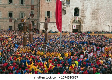 GUBBIO, ITALY - MAY 15, 2018: Crowd at the famous festa dei ceri in the center of Gubbio medieval city in Umbria