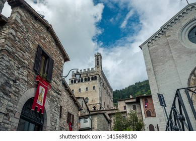 Gubbio, Italy - May 21 2019: Streets and buildings in the historic city of Gubbio, Italy.