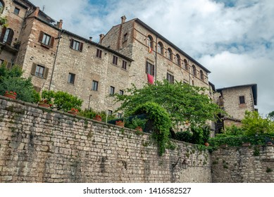 Gubbio, Italy - May 21 2019: Buildings in the historic city of Gubbio, Italy.