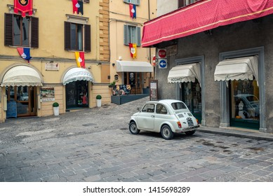 Gubbio, Italy - May 21 Fiat 500 classic parked on the street in the center of the medieval city of Gubbio, Italy.
