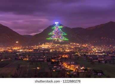 Gubbio (Italy) - One of the most beautiful medieval towns in Europe, in the heart of the Umbria Region, central Italy. Here the biggest Christmas tree in the world.