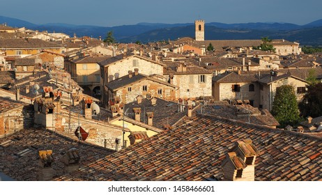 Gubbio, one of the most beautiful small town in Italy. Aerial view of the village from the upper square