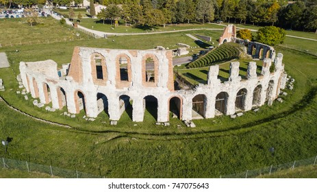 Gubbio, one of the most beautiful small town in Italy. Drone aerial view of the ruins of the Roman theater