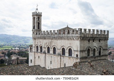 Gubbio, Perugia, Italy - view from above of Palazzo dei Consoli. The palace  is located in Piazza Grande, in Gubbio, and is one of the most impressive public buildings in Italy.