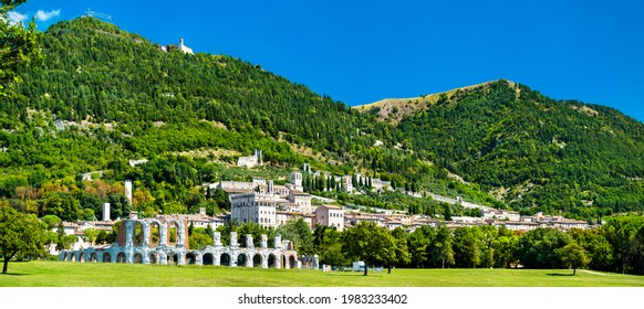 Gubbio with roman theatre and towers in Umbria, Italy