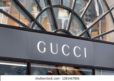 Gucci brand name logo seen on entrance in Gucci brand store in Kiev, Ukraine, on 22 October, 2018.