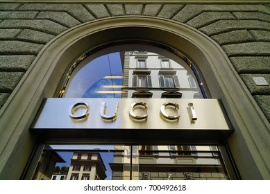 Gucci store from in Florence Italy july of 2017. Gucci is a top brand and fashion icon around the world.