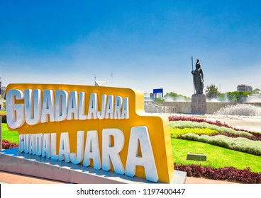 Gudalajara, Mexico-10 April, 2018: Landmark Minerva monument in Guadalajara historic center