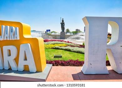 Gudalajara, Mexico-10 April, 2018: Landmark Minerva monument in Guadalajara historic center