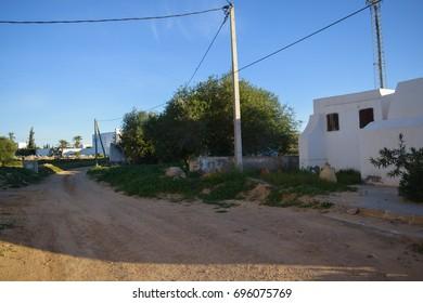 GUELLALA, DJERBA, TUNISIA - JANUARY 3 2017: Guellala berber town in the south of Djerba island in Tunisia. Northern Africa