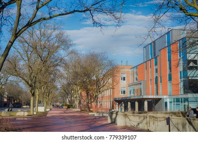 GUELPH, ONTARIO, CANADA - MARCH 15, 2016: View of Guelph University campus buildings with a blend of modern and traditional architecture.